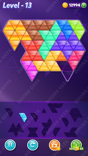 Block! Triangle Puzzle 12 Mania Level 13 Solution, Cheats, Walkthrough for Android, iPhone, iPad and iPod