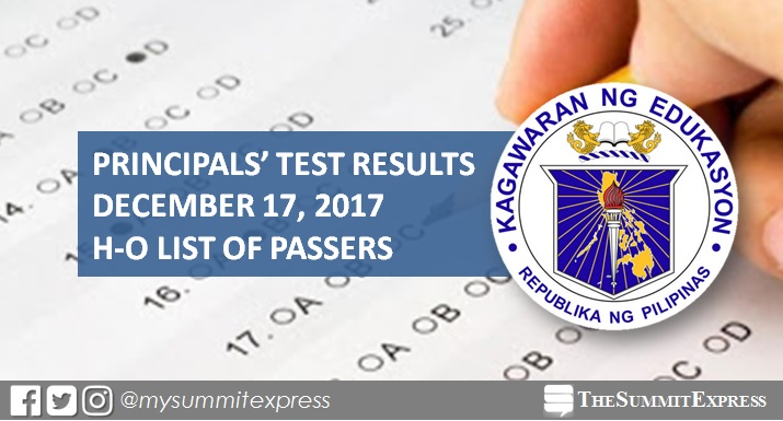 H-O List of Passers: 2017 Principals' Test Results December 17, 2017 NQESH