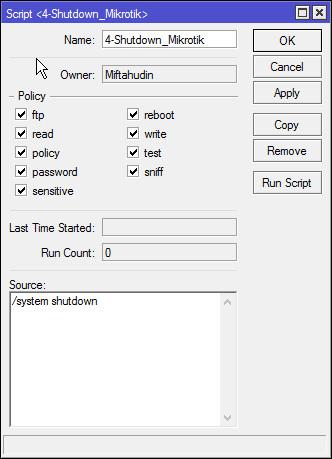 Mudahnya Membuat Jadwal Shutdown Otomatis Di Mikrotik