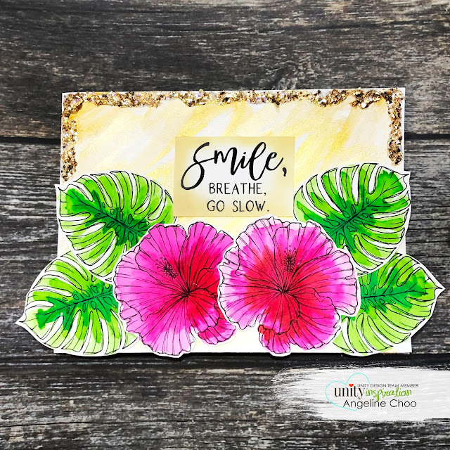 ScrappyScrappy: Week 2 of Unity Stamp Birthday Party - Time to refresh #scrappyscrappy #unitystampco #card #cardmaking #youtube #quicktipvideo #gracielliedesign #glitterifficpaint #gansaitambi #watercolor #tropical #hibiscus #timetorefresh #janedavenport #mermaidmarkers