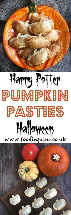 www.foodiequine.co.uk Celebrate Halloween or Harry Potter and Hogwarts with these quick and easy to make Pumpkin Pasties using canned Pumpkin and my Pumpkin Spice Mix. Plus a roundup of our visit to The Wizarding World of Harry Potter at Universal Studios.