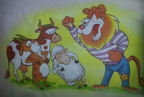 fabula corta el leon, la vaca, la cabra y la oveja
