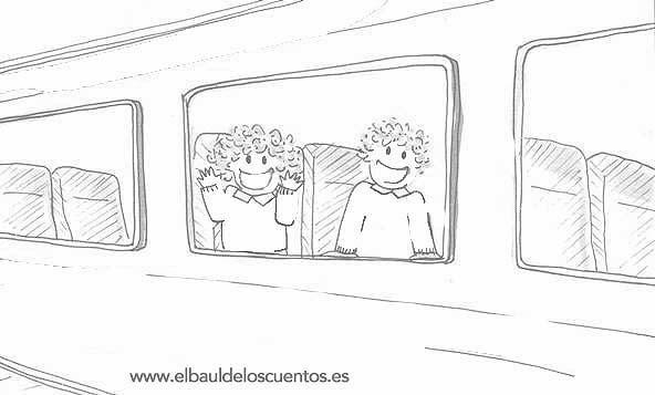 Dibujo para colorear del viaje de Tina y Leo en tren