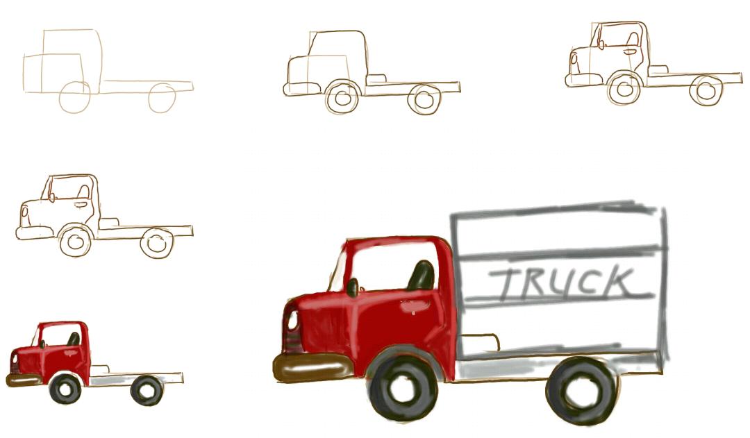 Cara menggambar mobil truk mobil box