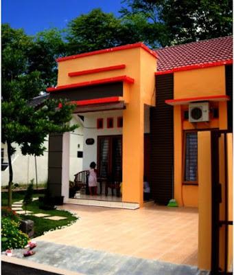 Desain Terbaru Kombinasi Warna Cat Orange, Hitam Dan Putih Tampak Depan 1