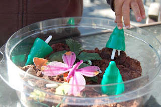 spring sensory garden made from play dough