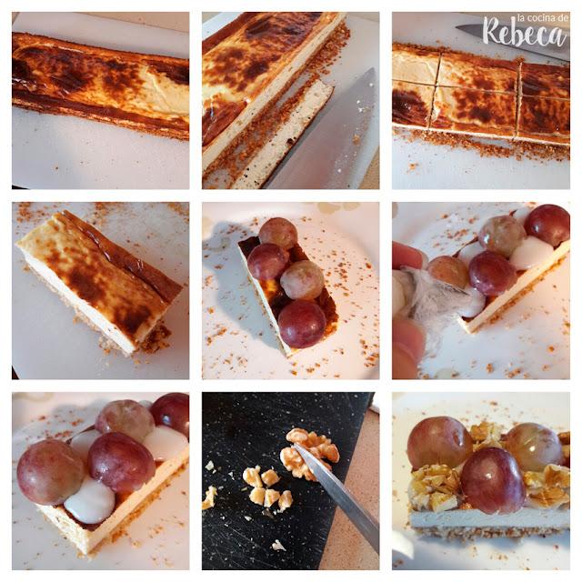 Receta de tarta (salada) de queso, uvas y nueces: el emplatado