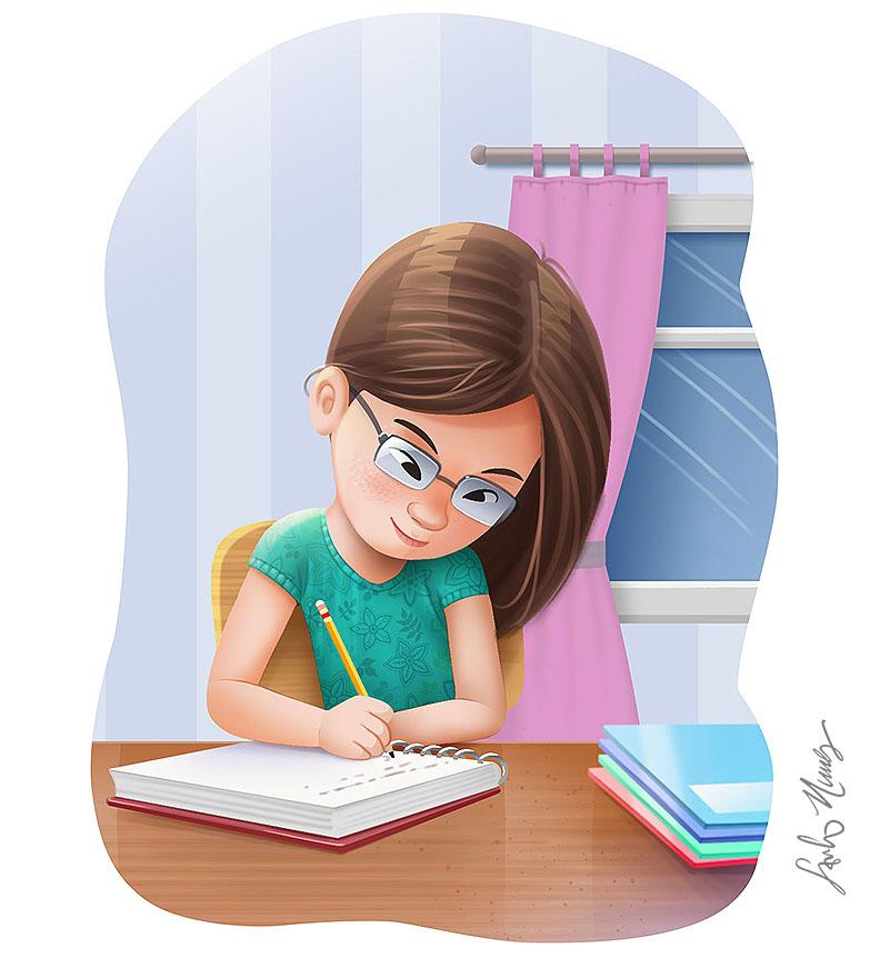 Saulo Nunes Ilustracoes Menina Oriental Estudando