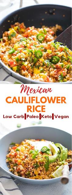 low carb mexican cauliflower rice (paleo, vegan, keto) #Keto #LowCarb