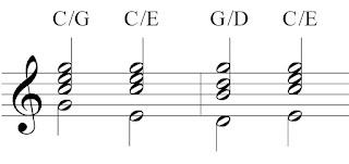 Slash chords indicating chord inversions