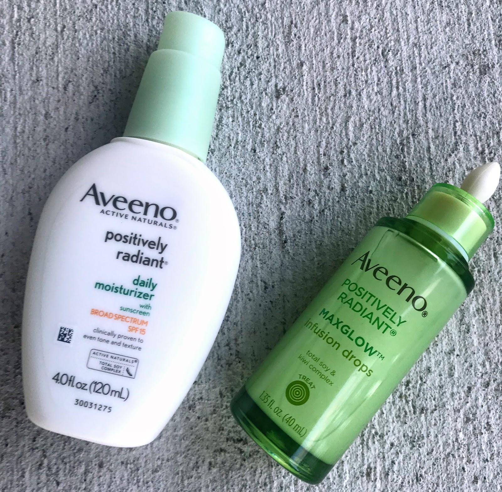 Image: Aveeno Positively Radiant moisturizer, Aveeno Glow drops