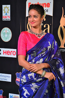 Shanvi Looks Super Cute in Pink Backless Choli Blue Saree at IIFA Utsavam Awards 2017 33.JPG