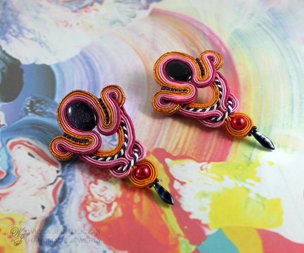 soutache earrings, pink, orange, cooper and navy blue