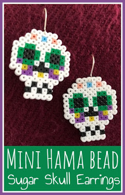 Mini Hama bead sugar skull earrings tutorial