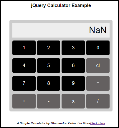 simple calculator using Jquery, CSS and HTML operations