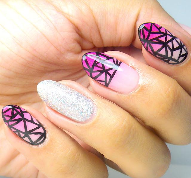 geometric mosaic nail art