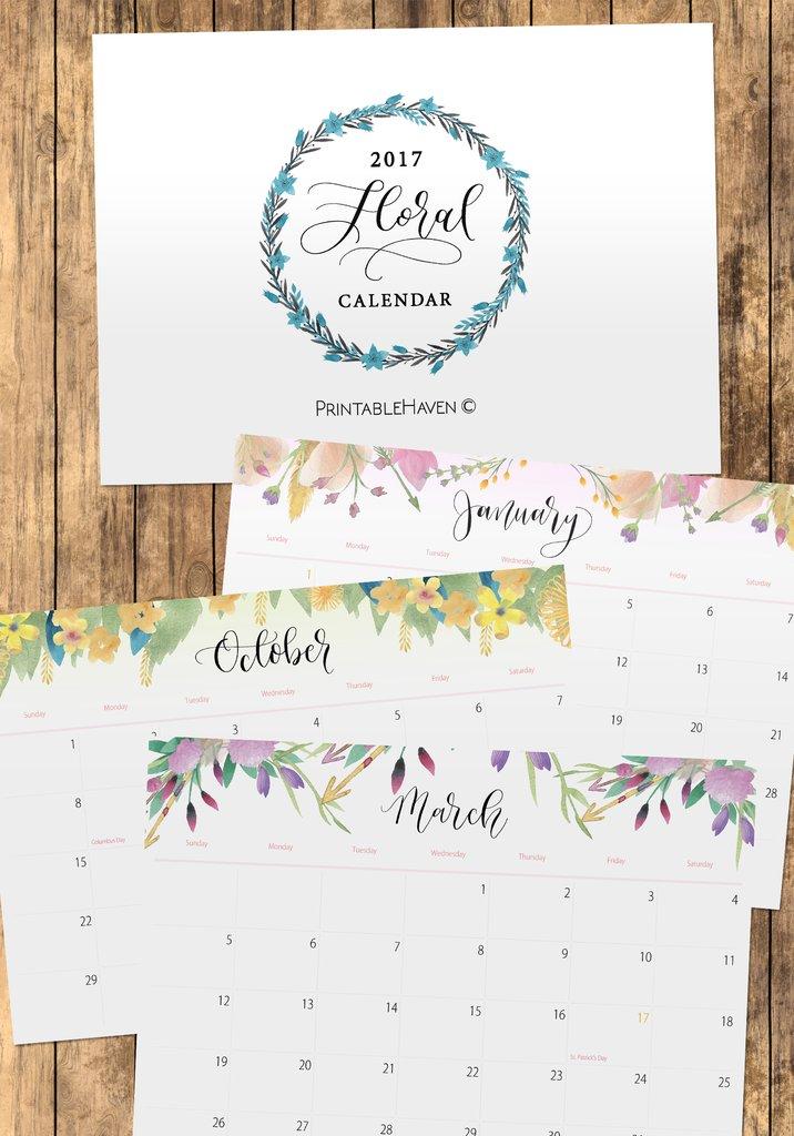 Free Floral Printable Calendar 2017 || Printable Haven