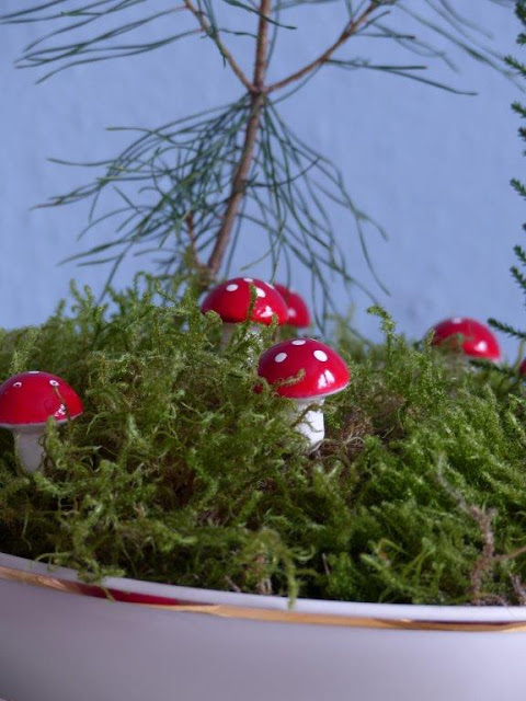 Adventskranz DIY selbstgemacht basteln easy einfach ruckzuck simpel preiswert Moos Fliegenpilze Tanne Suppenschüssel retro Alternativ