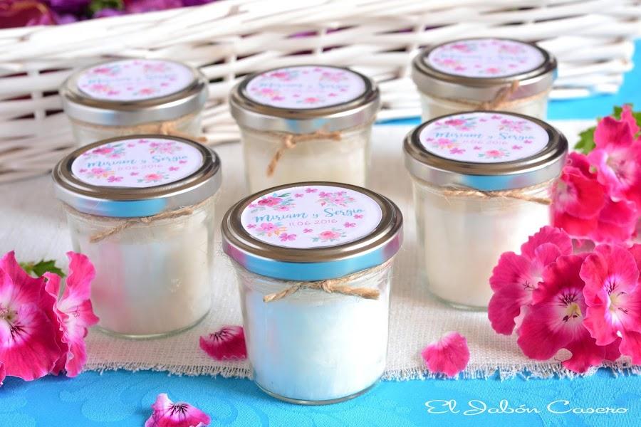 detalles de boda velas artesanales en tarros