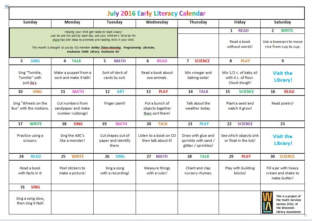 Calendar Preschool Activities : Youth services shout out yss may june july literacy