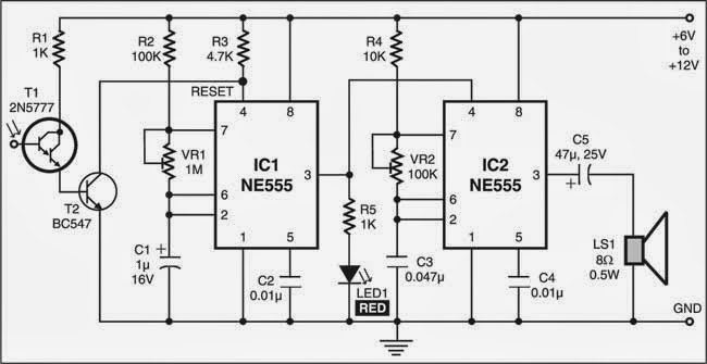 Simple Sensitive Optical Burglar Alarm Circuit Diagram