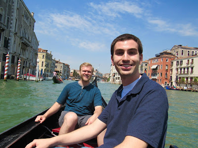 Brothers-in-law on gondola ride in Venice