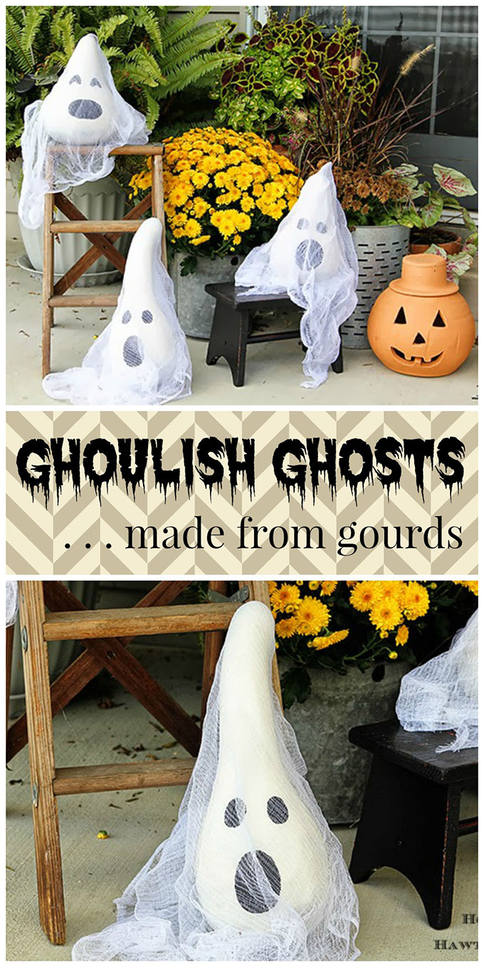 26 best spooky ghost decoration ideas for outdoor. Gourdy ghost for outdoor decoration. Best Halloween outdoor decoration ideas. Spooky décor ideas for front porch. Halloween spooky decoration for party. Best fun theme for Halloween