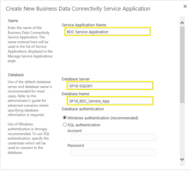 create business data connectivity service application sharepoint 2016