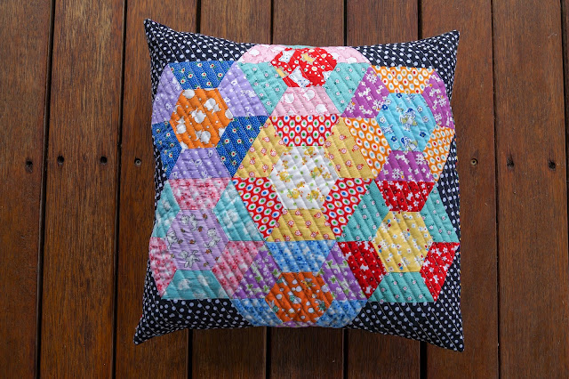 Hexie & a Half EPP cushion by Anorina Morris of @sameliasmum