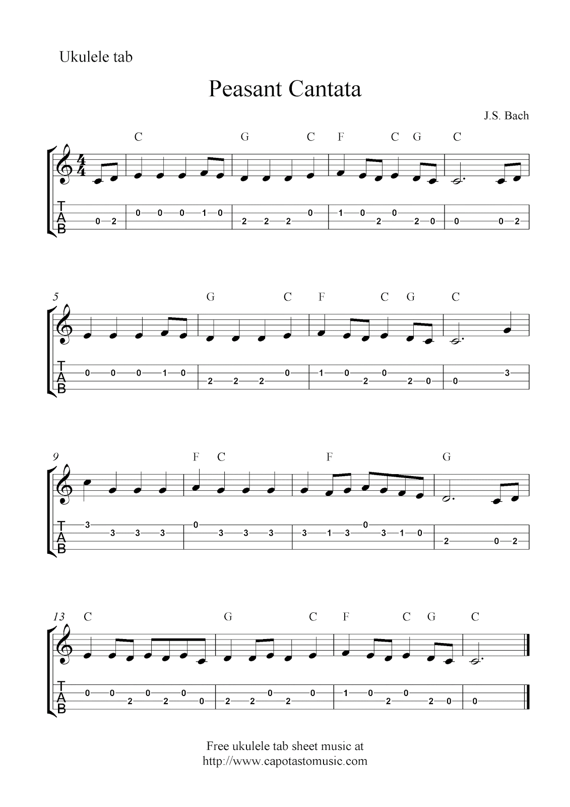 image relating to Free Printable Christmas Cantata called Peasant Cantata, cost-free ukulele tablature sheet songs