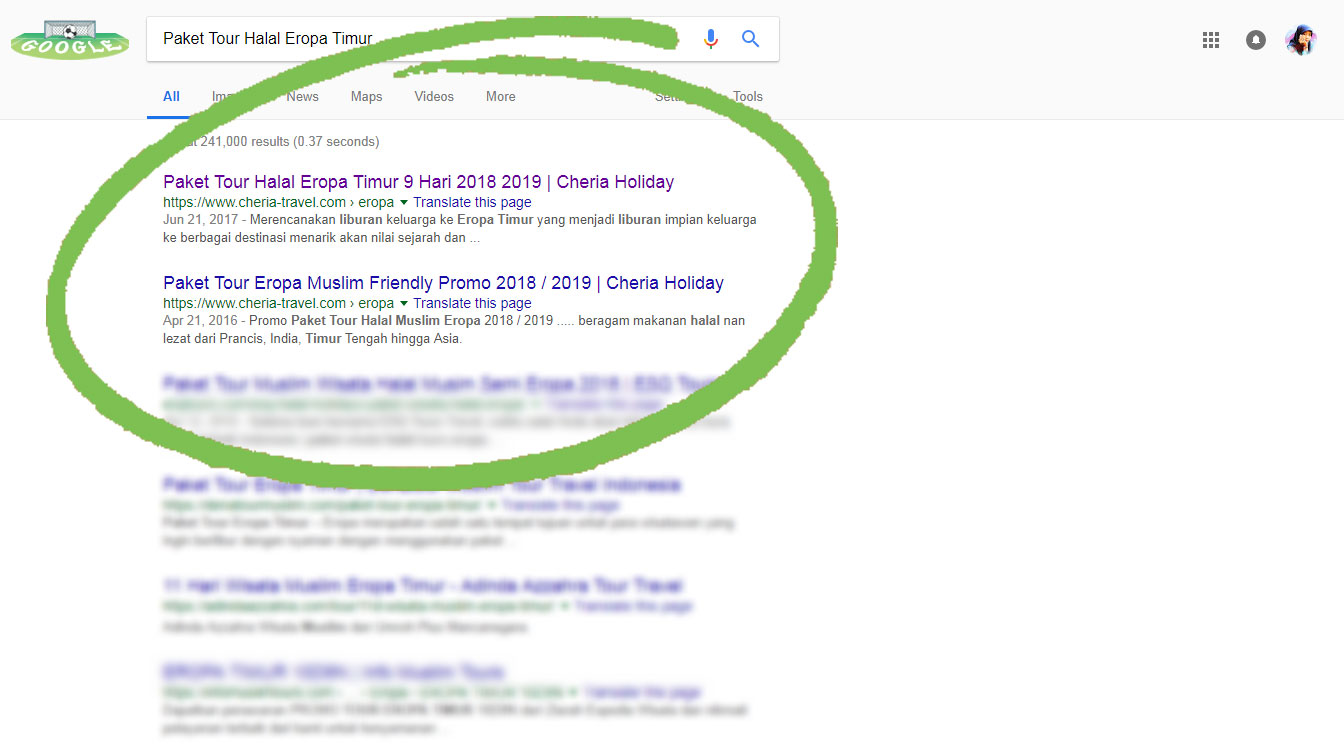 Cheria Holiday on Page one google