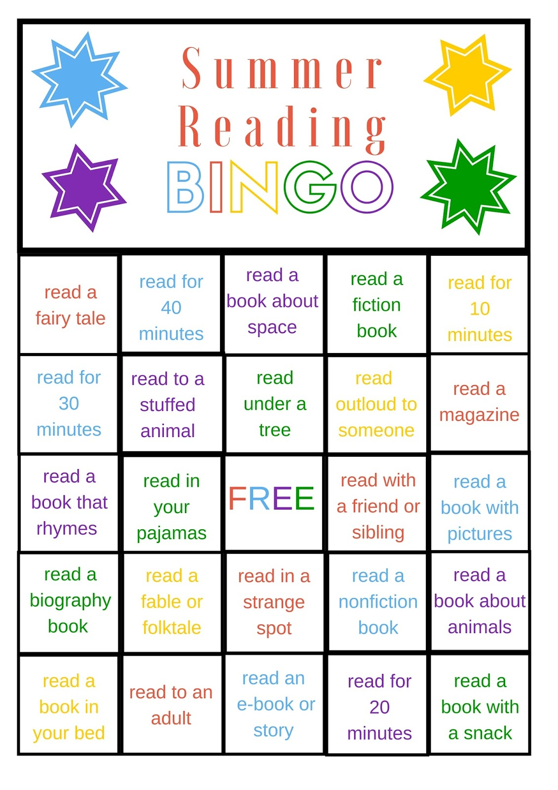 Savvy Spending Free Summer Reading Bingo Printable