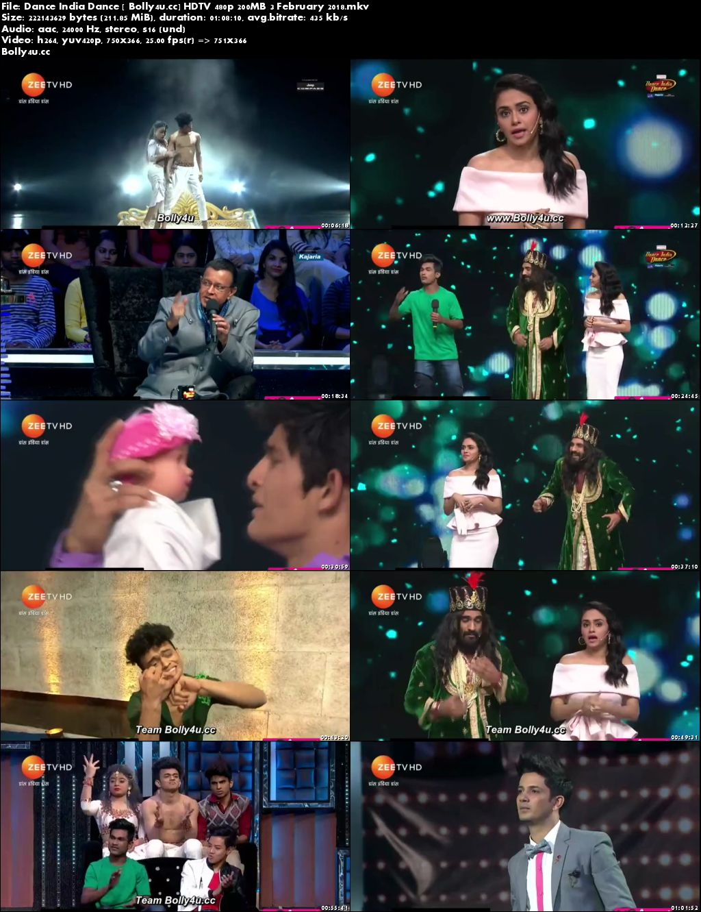 Dance India Dance HDTV 480p 200MB 03 February 2018 Download