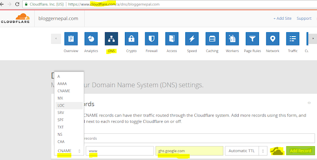 How to add .np domain in Blogger with https--cloudflare