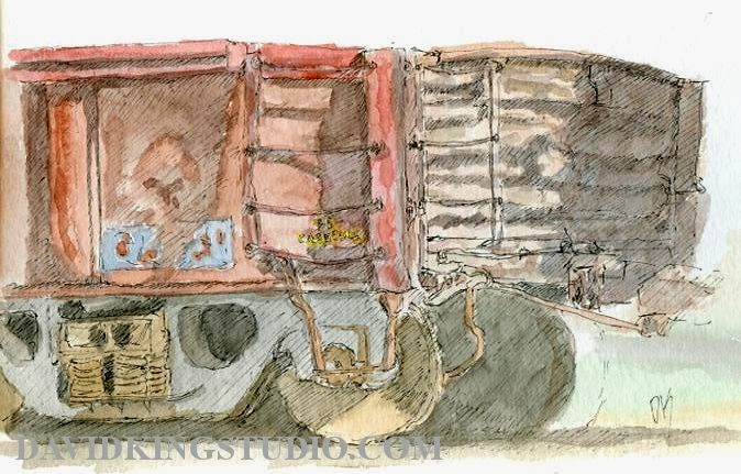 art sketch life gondola train railroad pen watercolor