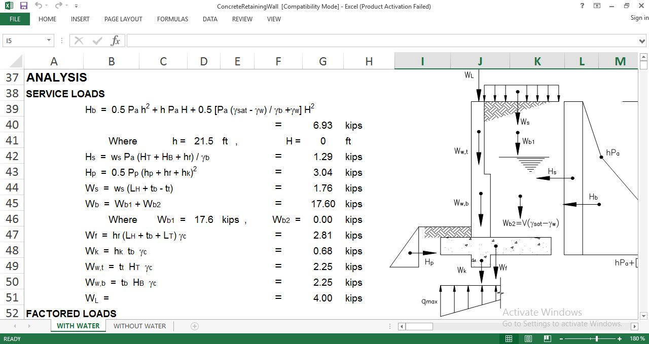 Design Concrete Retaining Wall structural engineering software restrained retaining wall design Design Concrete Retaining Wall Spreadsheet Download Free