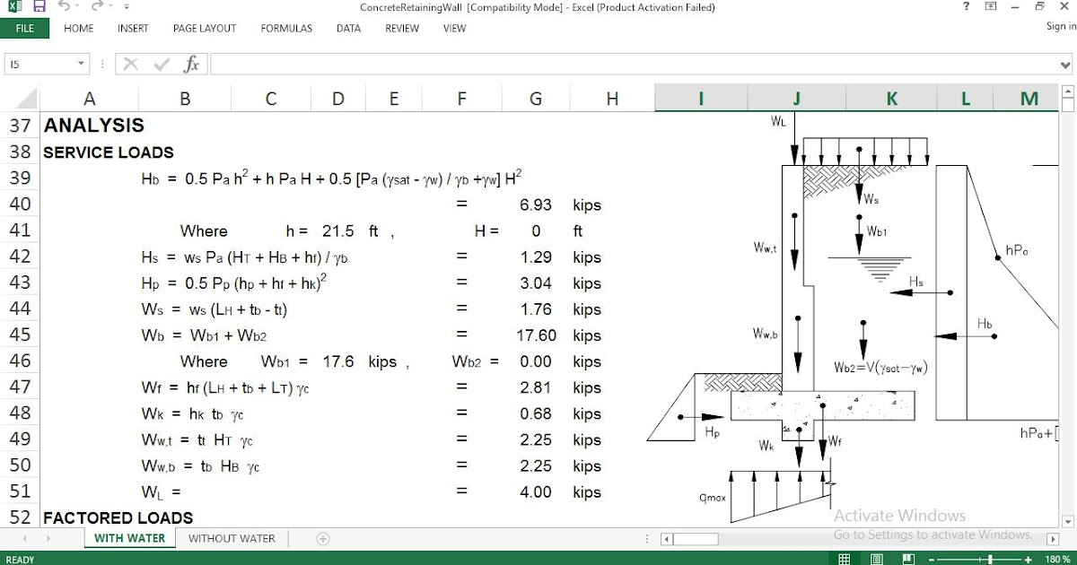 Retaining Wall Excel File