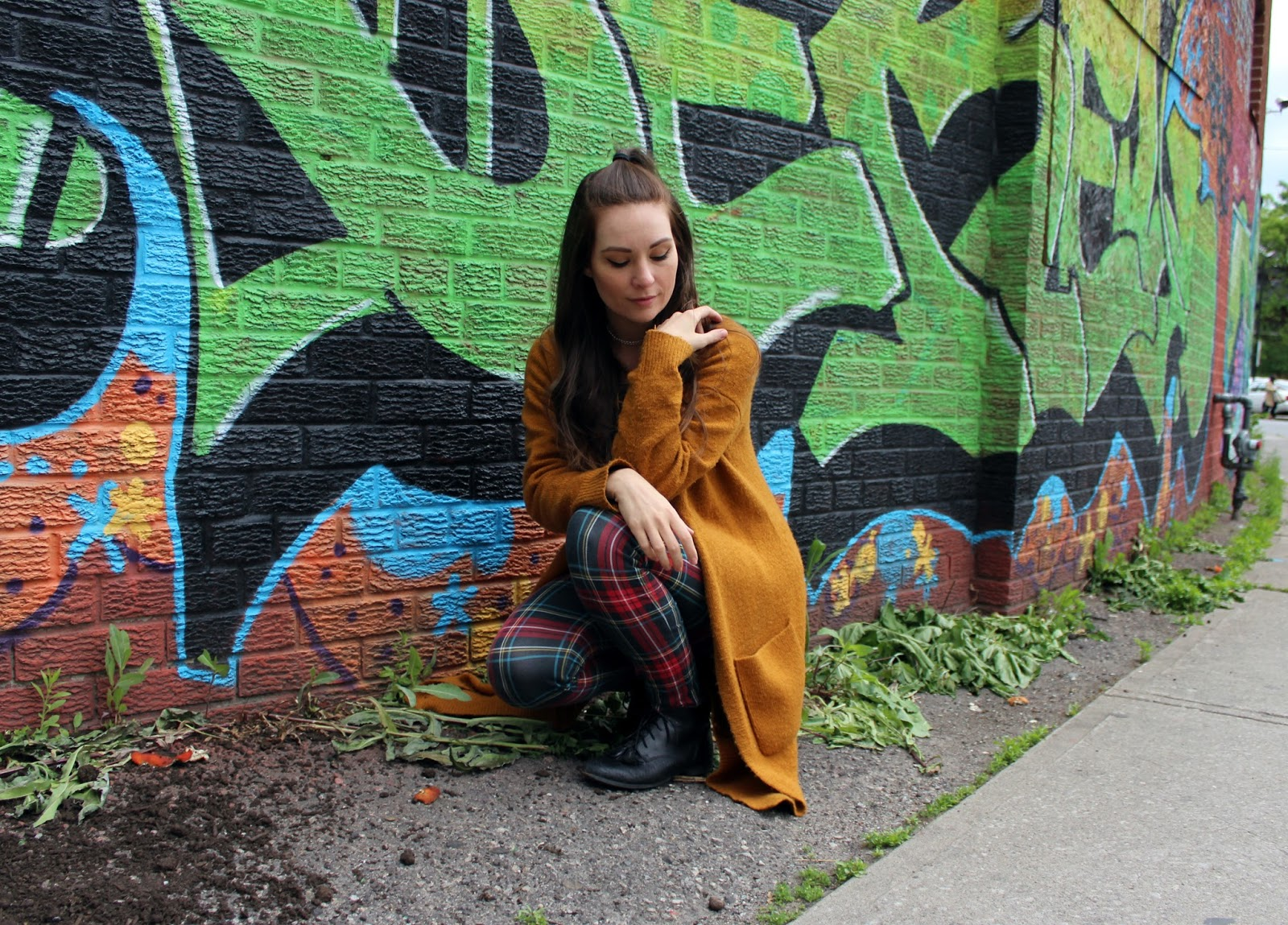 Plaid pants, orange wool grandpa cardigan