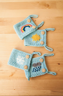 mug cozies, weather, yarn, knitting, blue, rainbow, sunshine, snowflake, raincloud