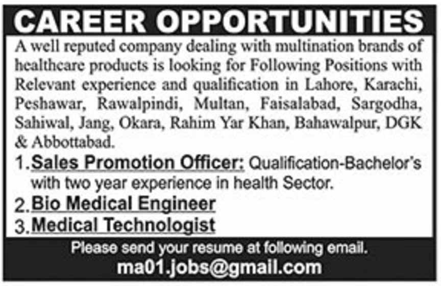 Sales Promotion Officer, Medical Technologist, Bio Medical Engineer required in Multiple Cities