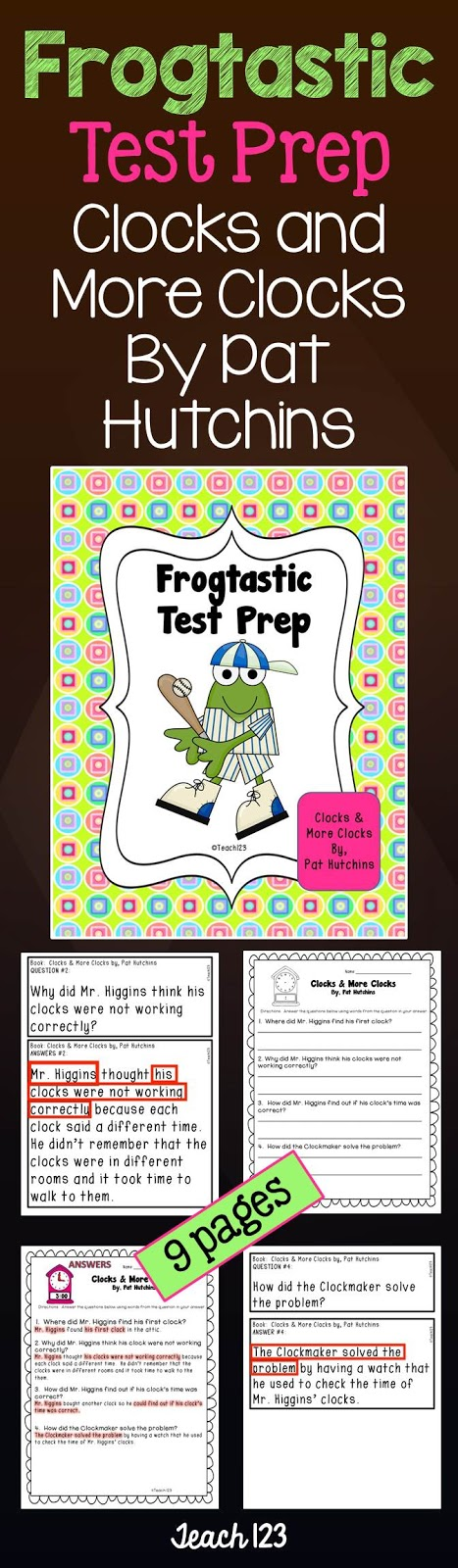 Teach 123 Frogtastic Test Prep Clocks and More Clocks by Pat Hutchins at TeachersPayTeachers
