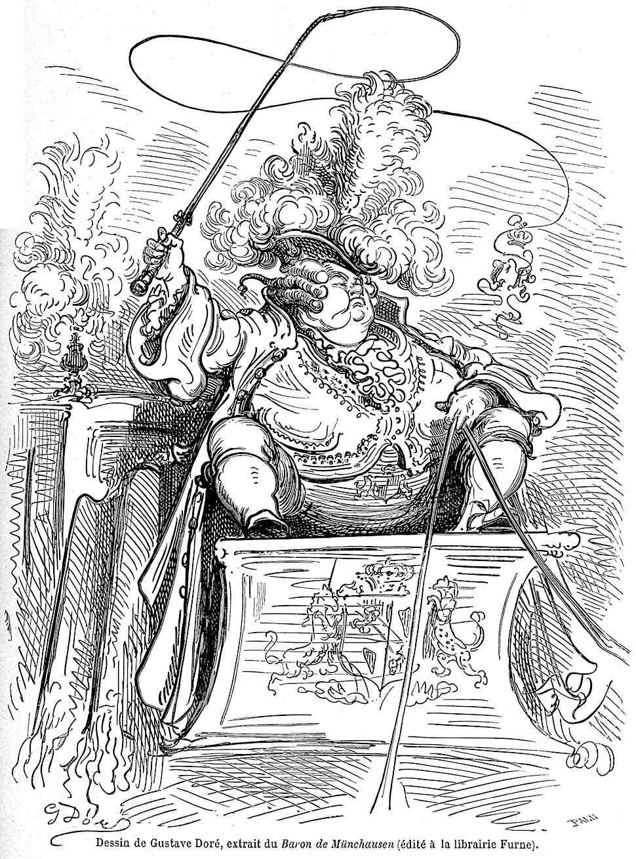 a Gustav Dore book illustration for Baron de Munchausen, an expensive coach driver