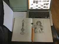 Sketching begins on Ruth Asawa: A Sculpting Life written by Joan Schoettler being illustrated by Traci Van Wagoner