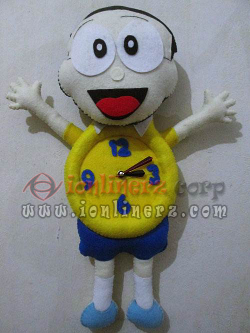 Jam Dinding Flanel Karakter Kartun Boneka Nobita