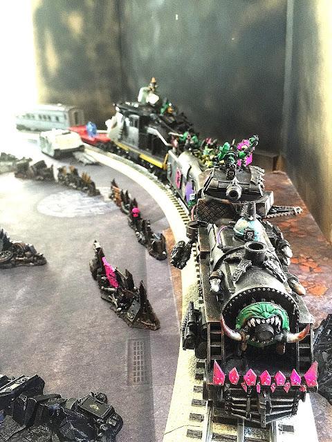 Ork train; Ork steam train; Warhammer train; 40K Train; Waaghbash Kannonball
