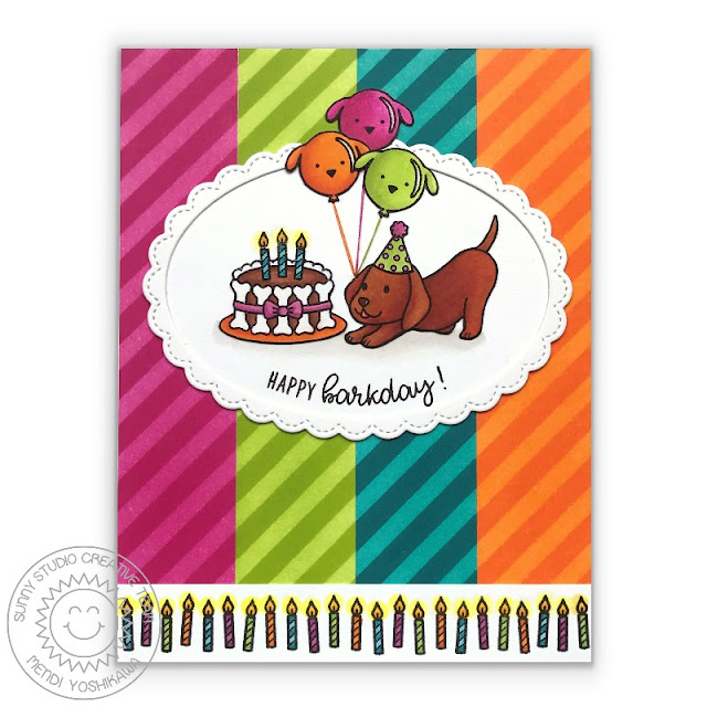Sunny Studio: Party Pups & Devoted Doggies Birthday Card by Mendi Yoshikawa (featuring stripes from Background Basics stamps & Fancy Frames Oval dies)