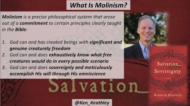"Quote from ""Salvation and Sovereignty: A Molinist Approach"" by Dr. Kenneth Keathley- ""Molinism is a precise philosophical system that arose out of a commitment to certain principles clearly taught in the Bible: (1) God can and has created beings with significant and genuine creaturely freedom; (2) God can and does exhaustively know what free creatures would do in every possible scenario; and (3) God can and does sovereignly and meticulously accomplish His will through His omniscience-- namely that aspect of His knowledge we call middle knowledge."" #theology #molinism #God #Bible #Christianity"