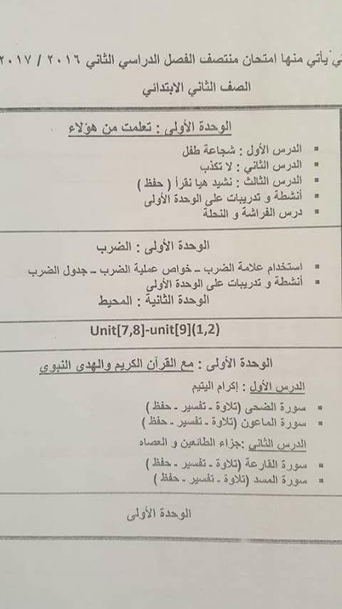 تحميل جدول الدروس التى سوف يأتي منها امتحان نصف الترم الثاني للصف الثاني الابتدائي جميع المواد