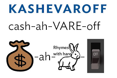 Pronunciation guide for Kashevaroff: cash-ah-VARE (rhymes with hare)-off