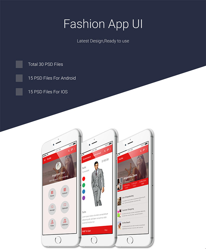 Fashion App UI PSD for Android and IOS